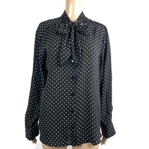 Who What Wear Blouse Button Down Pussy Bow Chiffon
